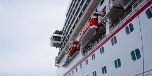 Looking up at bridge of Carnival Splendor from port