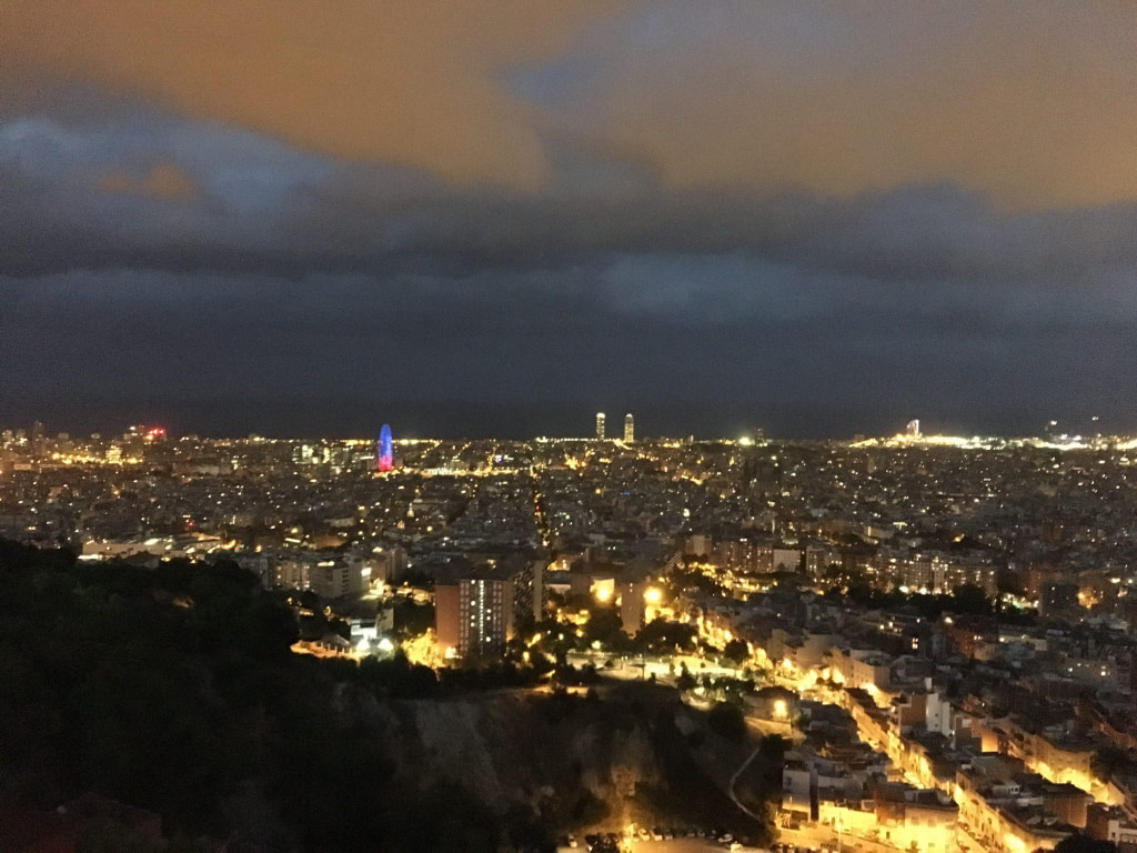 Bunkers del carmel night view barcelona from heights