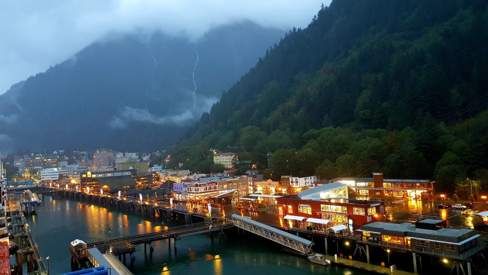 Juneau Town with lights on in Alaska from Cruise Ship