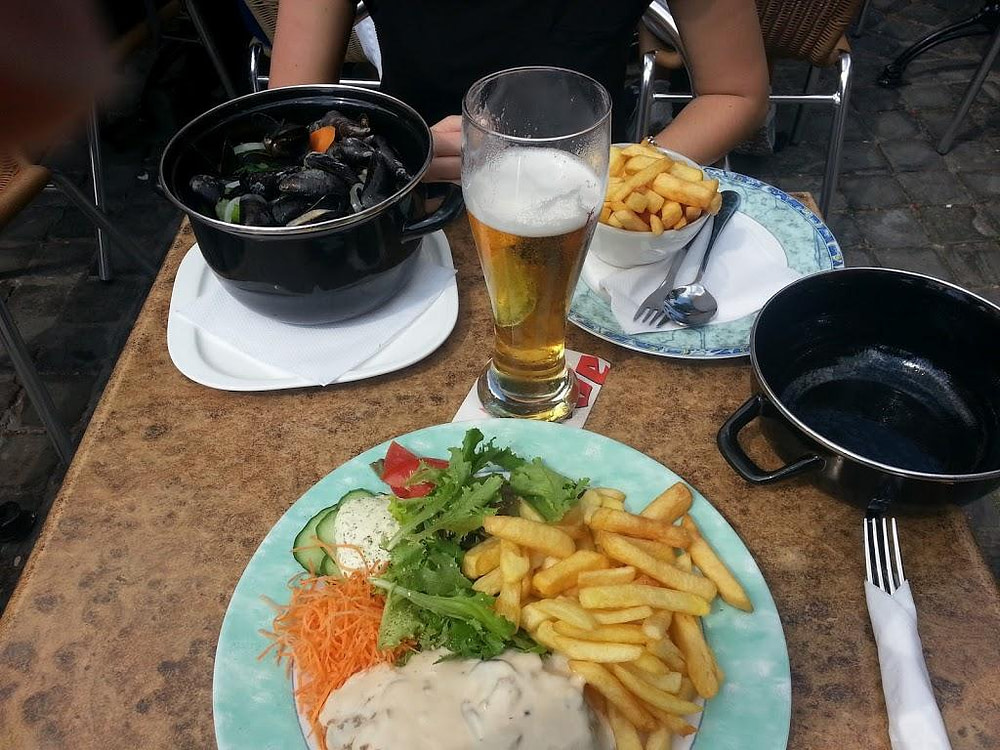 mussels and chips Day trip to Bruges