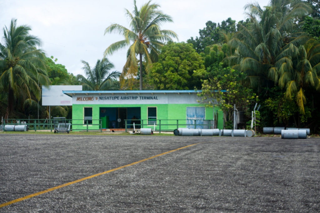 small green airport building amongst island palm trees