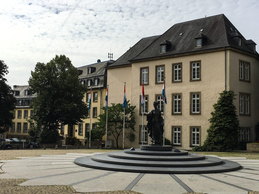 Luxembourg town square with statue