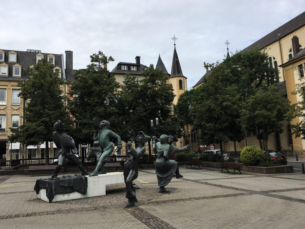 Luxembourg City Theatre Square Sculptures