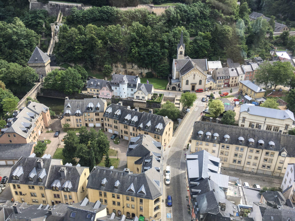 Birds eye view of Luxembourg city