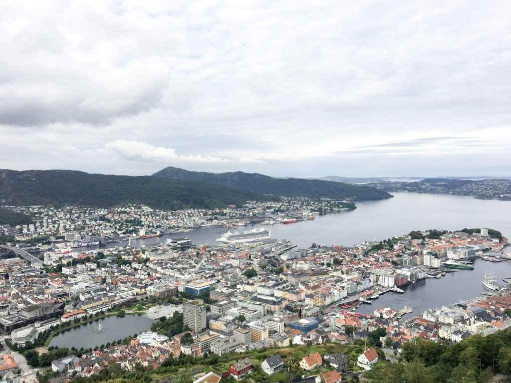 view of Bergen Fjord from top of Mount Floyen
