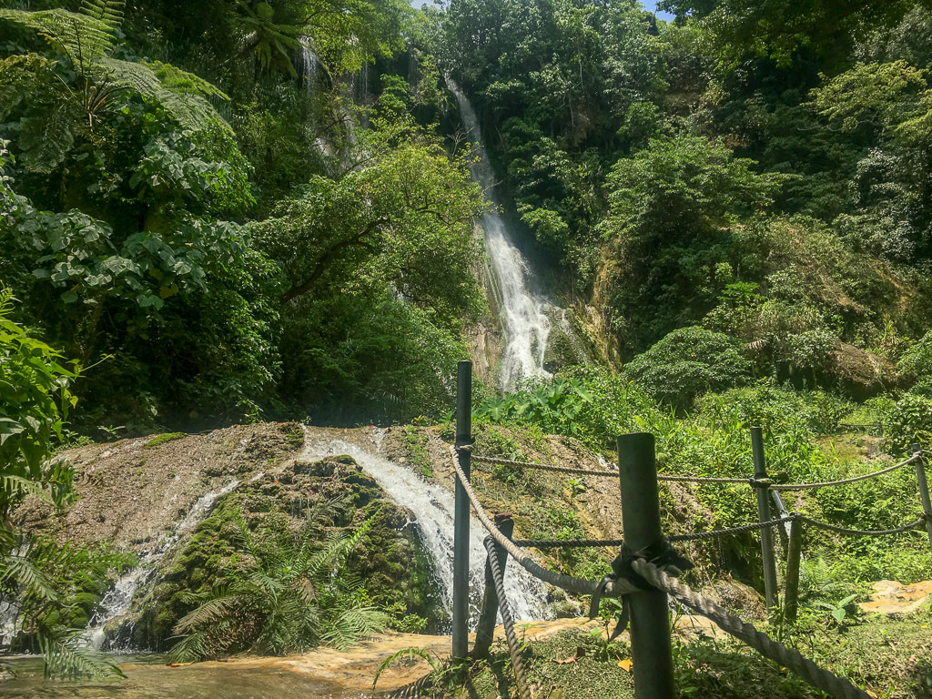 Rope track through rainforest vegetation with waterfall