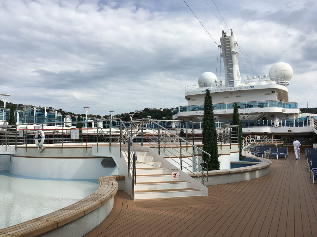 Pool Deck Majestic Princess Cruise Ship with cloudy sky