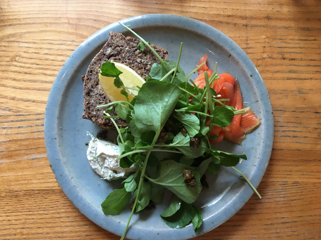 continental brunch plate at Loretta with salmon, spinach an rye toast