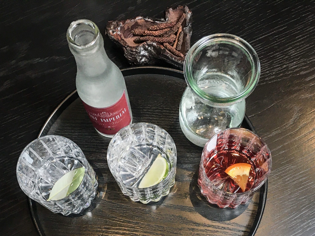 Gin tasting tray with three gins and garnishes, bottle of tonic water, carafe of soda water and dried juniper berries