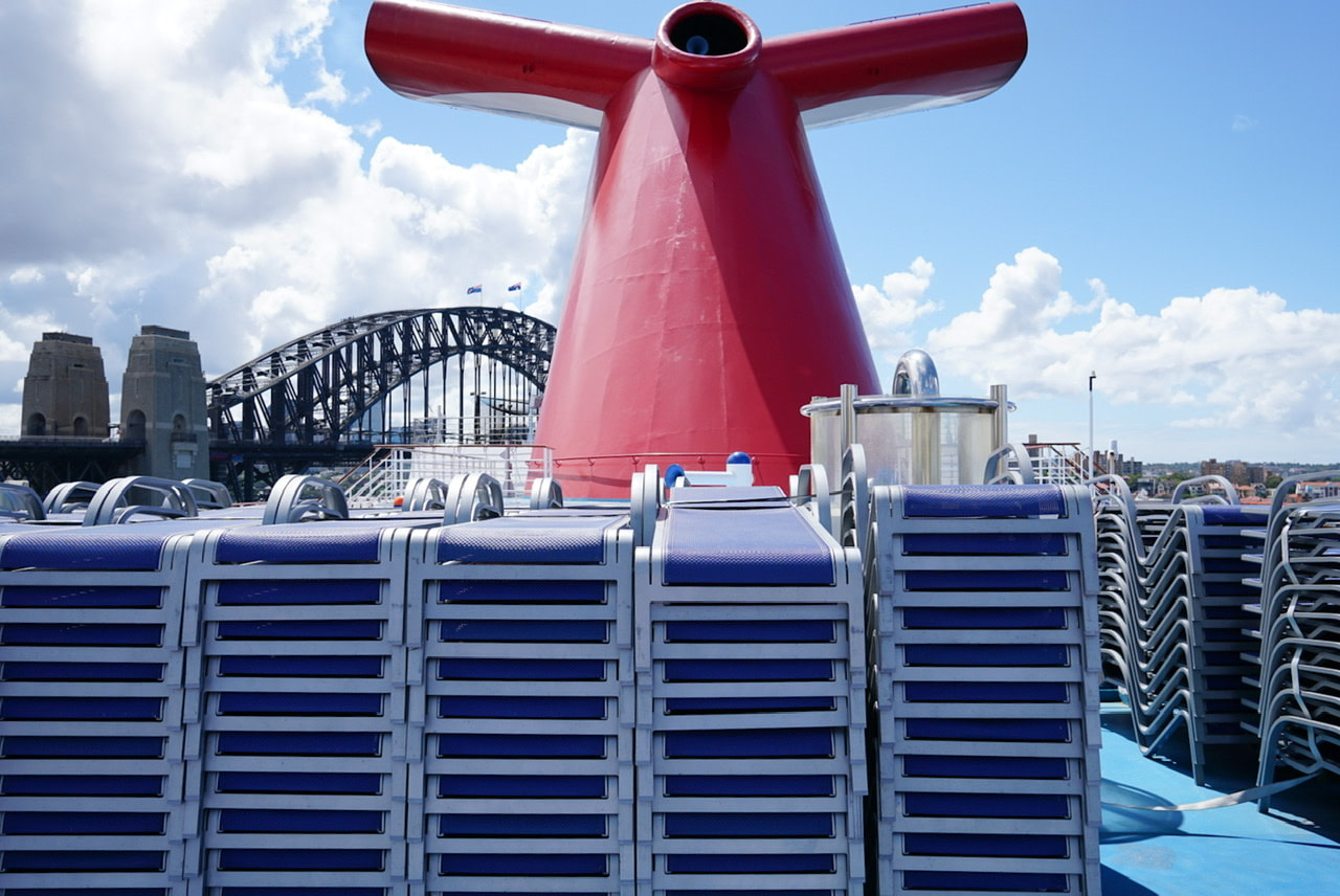 Stack of deck chairs stacked on carnival splendor in sydney