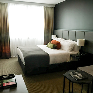 Wellington Airport hotel room with double bed