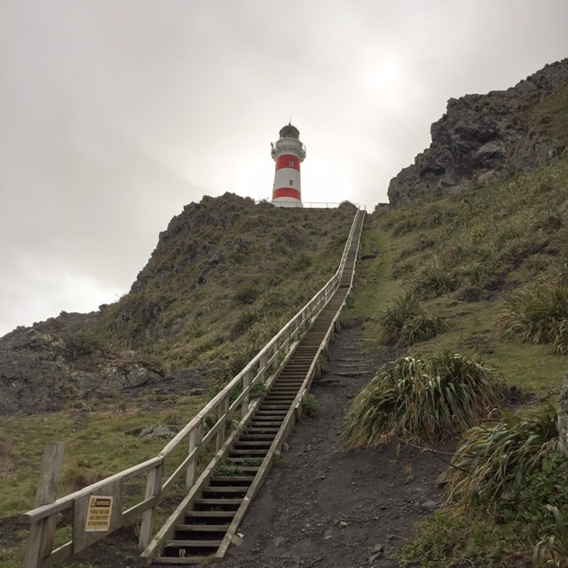 Lighthouse up a flight of stairs on rugged land