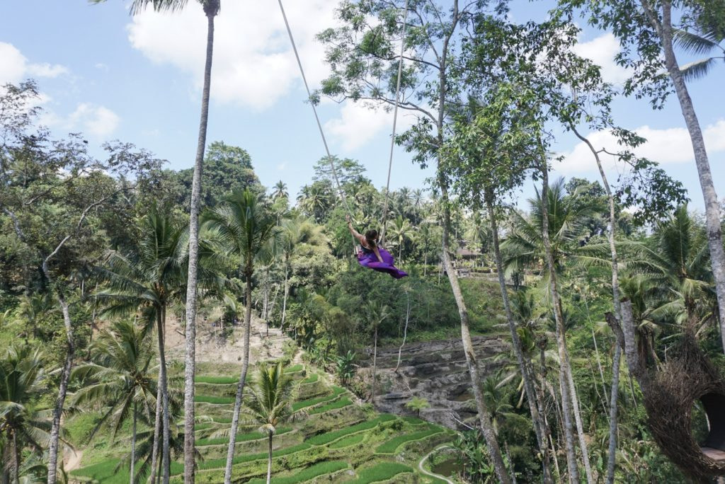 young woman in purple skirt on tegalalang rice terraces swing