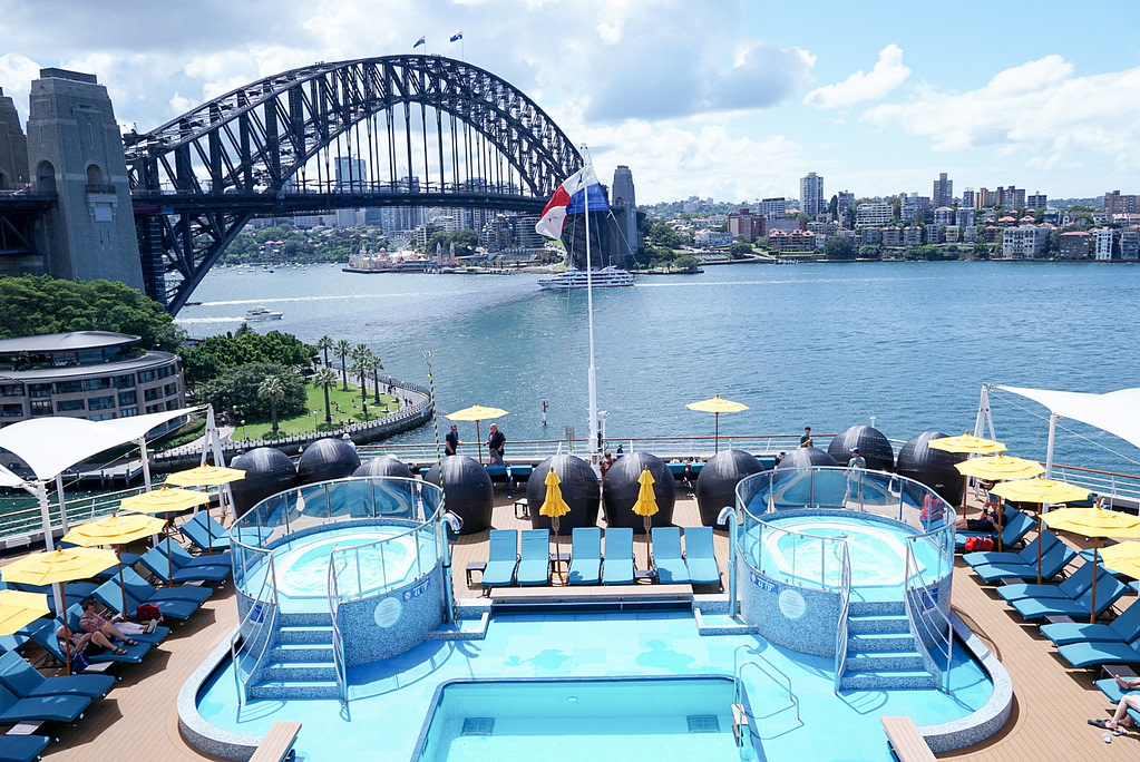 Carnival Splendor Serenity Pool with Sydney Harbour Bridge in background
