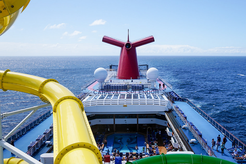 Carnival Splendor viewed from waterslide platform with sea in background