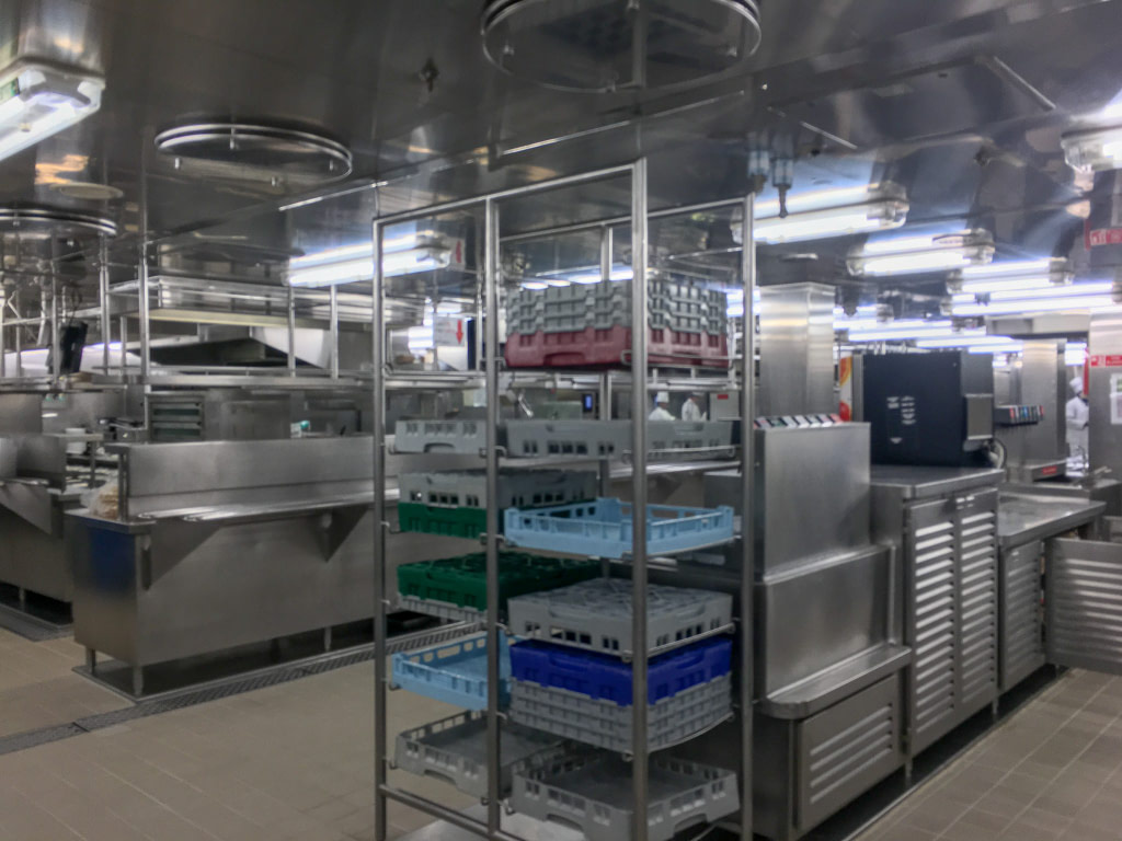 inside a cruise ship kitchen