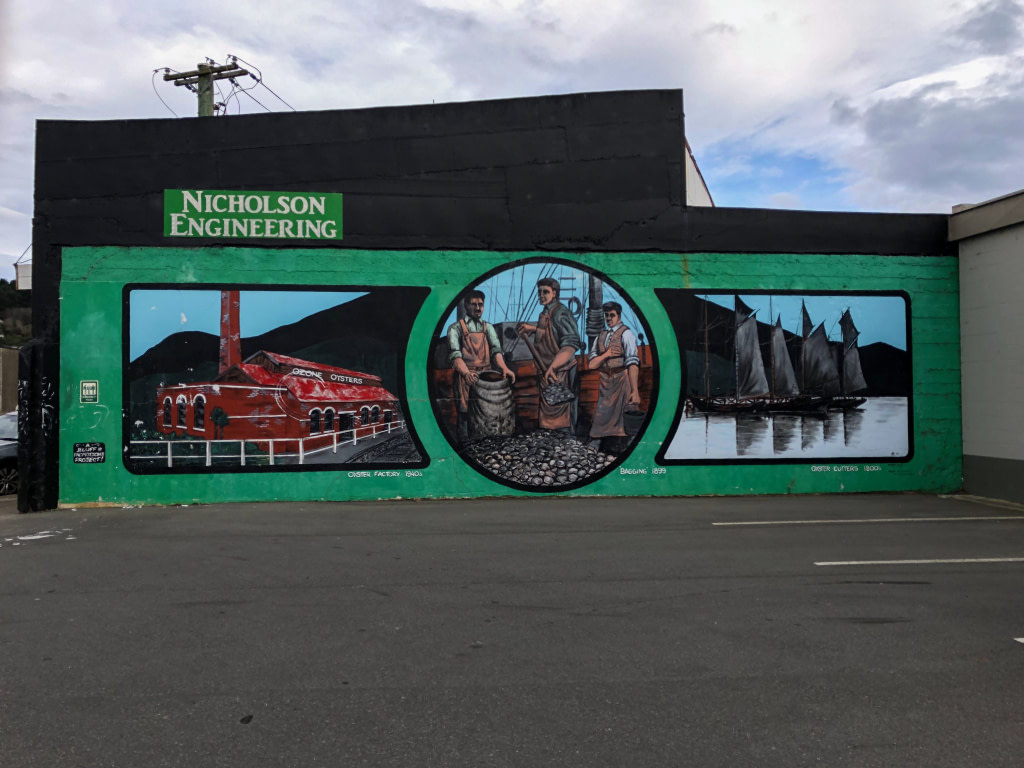 nicholson engineering mural on street in invercargil