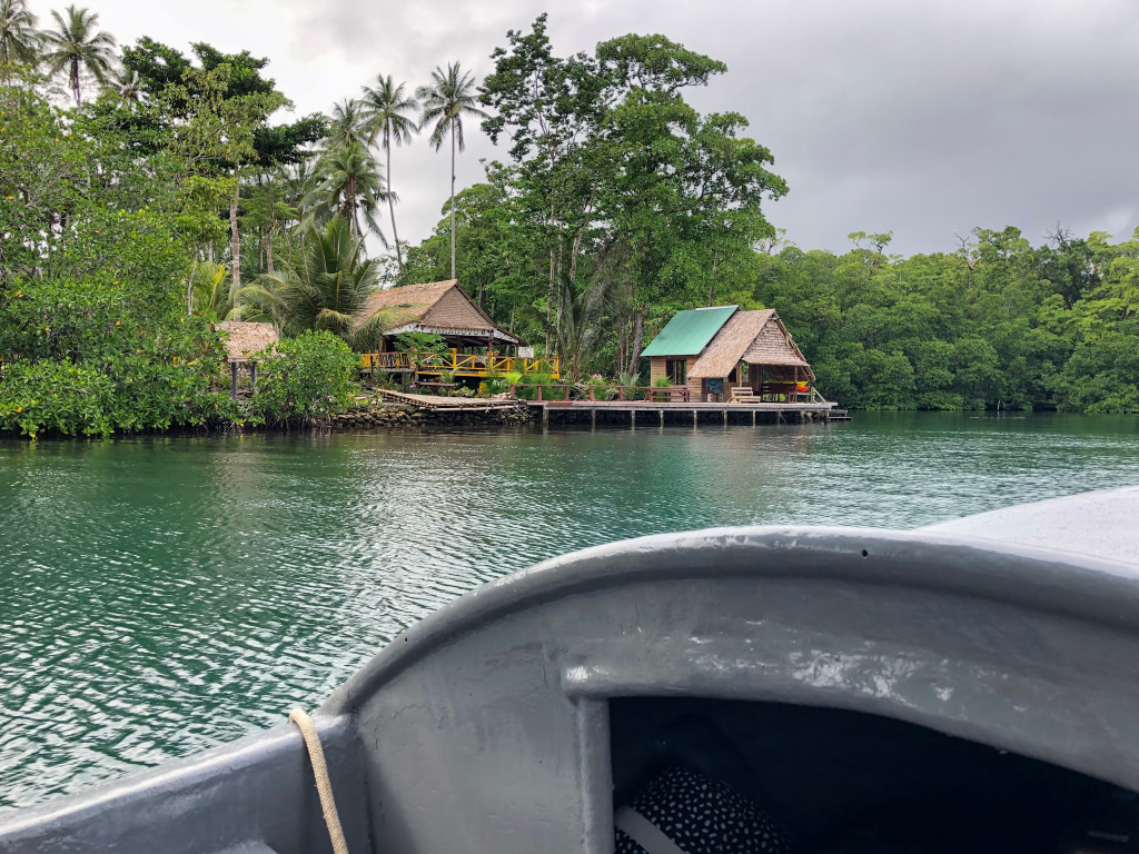 two wooden overwater bungalows among vegetation viewed from banana boat on water