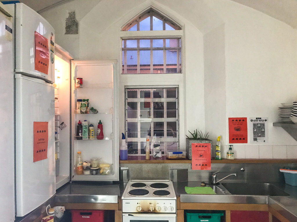 Kitchen inside former jail turned into backpackers in Christchurch