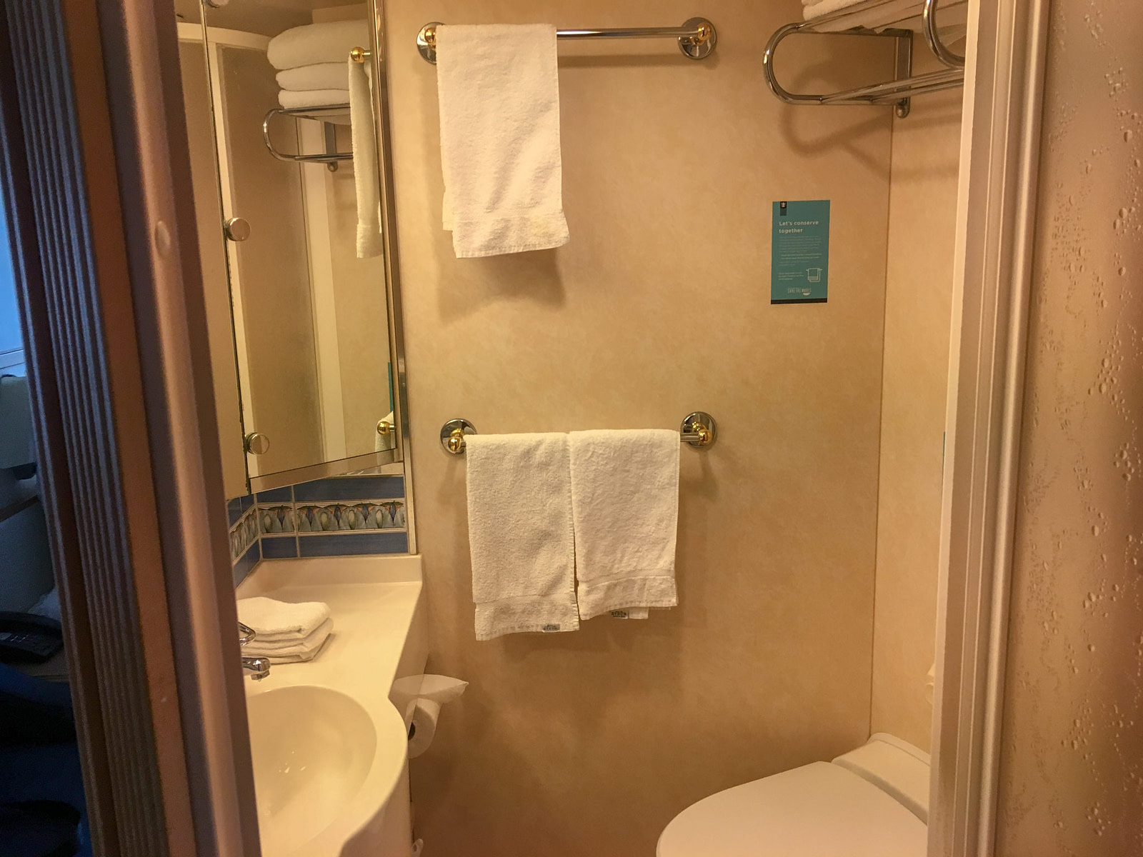 Cruise ship stateroom bathroom with shower, toilet, basin and three handtowels