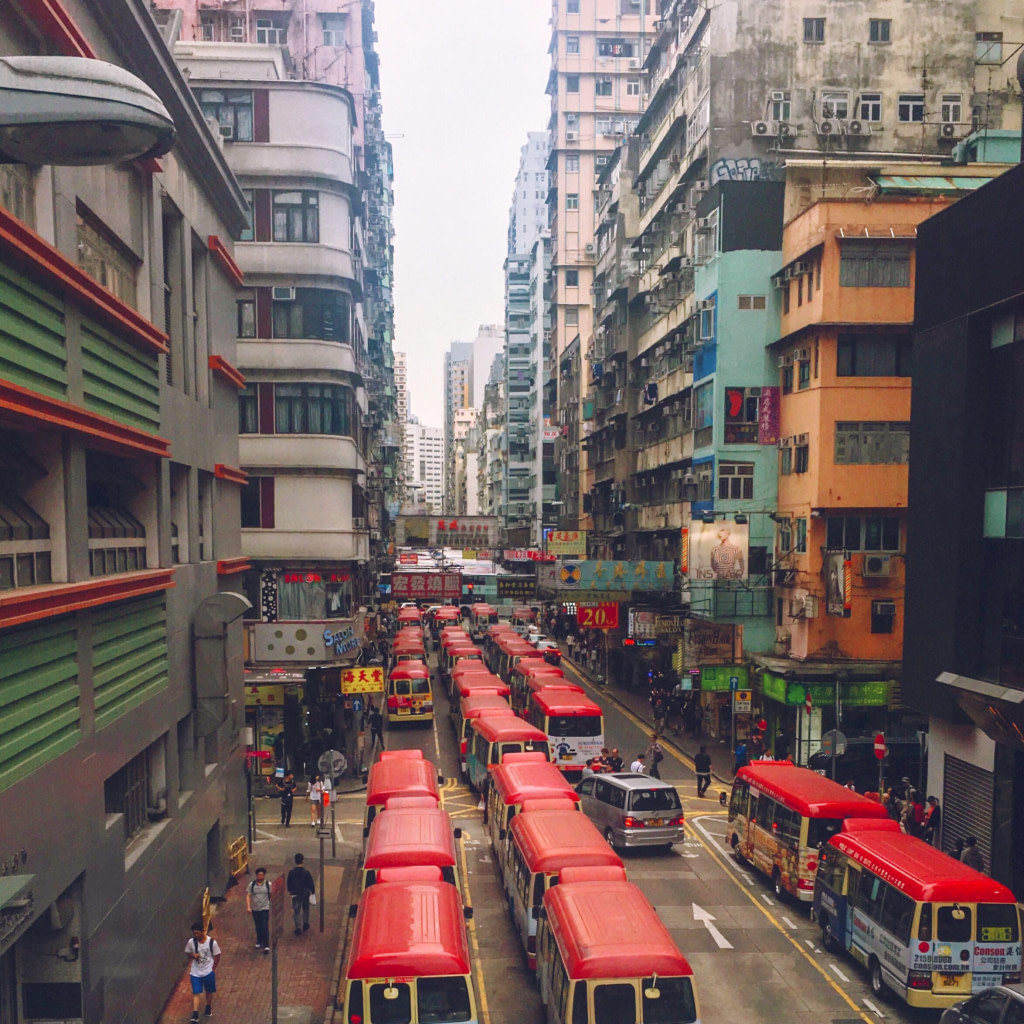 view of mong kok buses from bridge cool places in hong kong